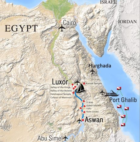 Map of Nile River cruise